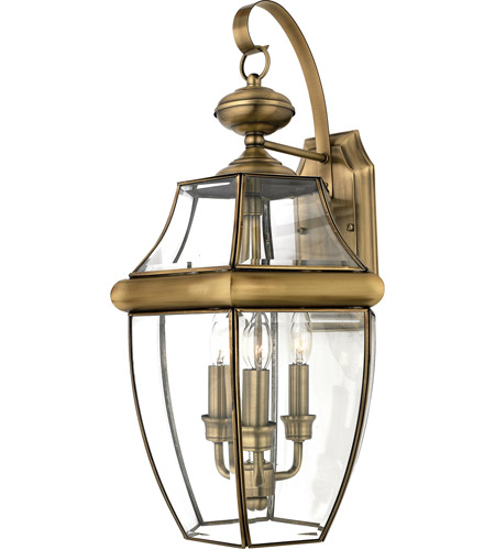 Quoizel Lighting Newbury 3 Light Outdoor Wall Lantern in Antique Brass NY8318A photo