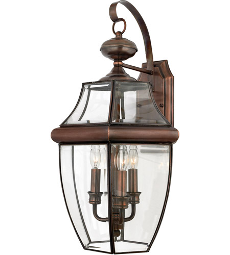 Quoizel NY8318AC Newbury 3 Light 23 inch Aged Copper Outdoor Wall Lantern  photo