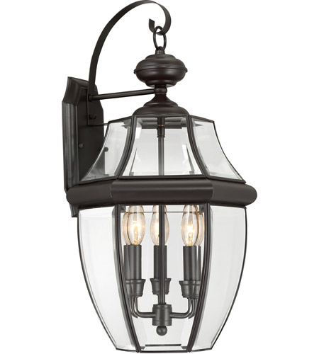 Quoizel Lighting Newbury 3 Light Outdoor Wall Lantern in Medici Bronze NY8318Z photo