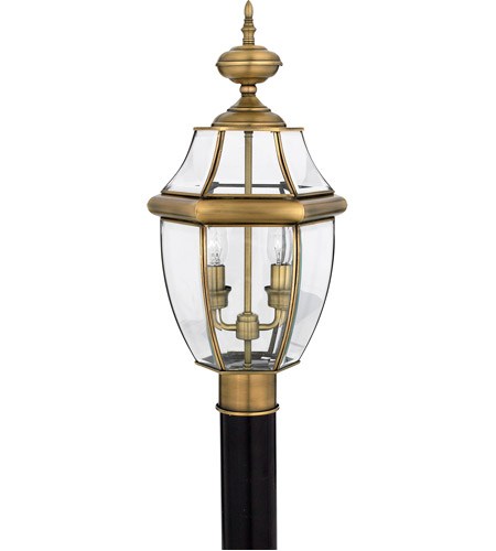 Quoizel Lighting Newbury 2 Light Outdoor Post Lantern in Antique Brass NY9042A photo