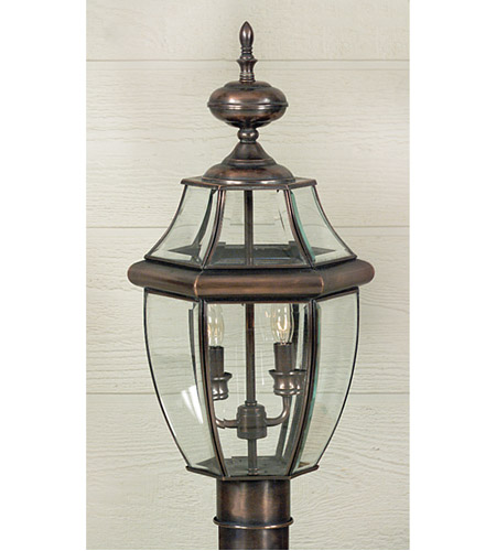 Quoizel Lighting Newbury 2 Light Outdoor Post Lantern in Aged Copper NY9042AC photo