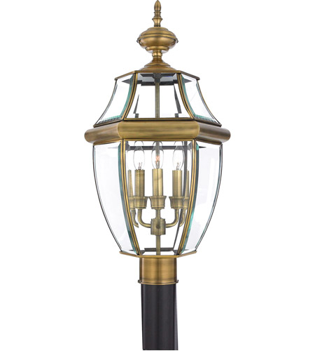 Quoizel NY9043A Newbury 3 Light 23 inch Antique Brass Outdoor Post Lantern  photo