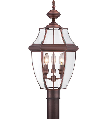 quoizel ny9043ac newbury 3 light 23 inch aged copper outdoor post