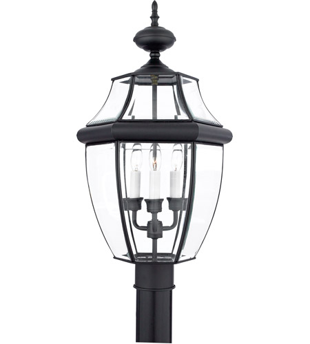 Quoizel Lighting Newbury 3 Light Outdoor Post Lantern in Mystic Black NY9043K photo