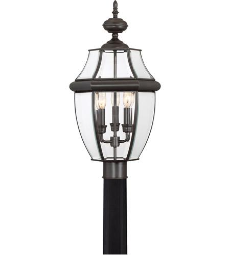 Quoizel Lighting Newbury 3 Light Outdoor Post Lantern in Medici Bronze NY9043Z photo