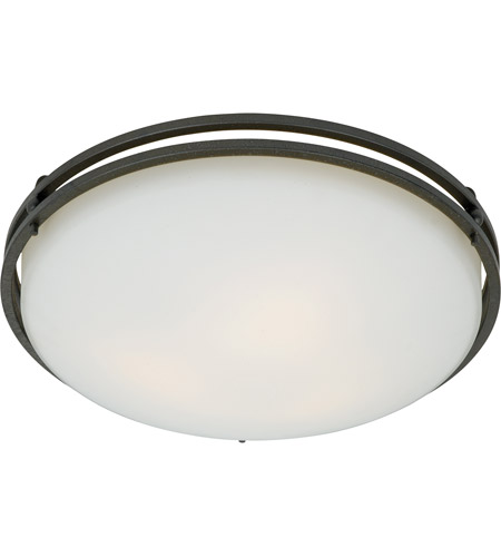 Quoizel OZ1616IN Ozark 3 Light 16 inch Iron Gate Flush Mount Ceiling Light in Opal Etched Glass photo
