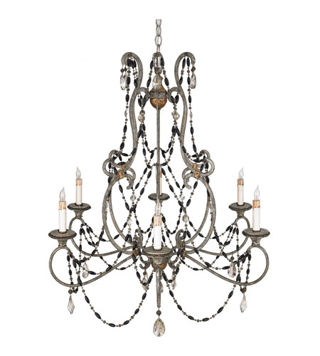 Quoizel Lighting Bergamo 6 Light Chandelier in Century Silver Leaf And Mayan Gold RBG5006CSM photo