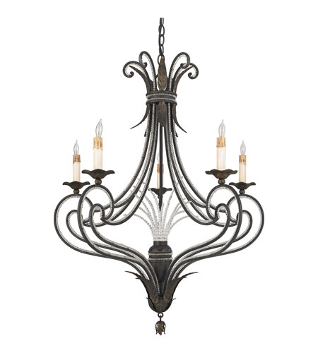 Quoizel Lighting Brittany 5 Light Chandelier in Serengeti Black And Mayan Gold Leaf RBT5005SM photo