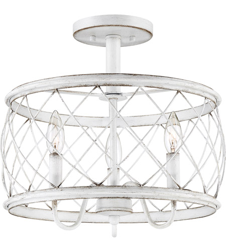 Quoizel RDY1714AWH Dury 3 Light 14 inch Antique White Semi-Flushmount Ceiling Light, Medium photo