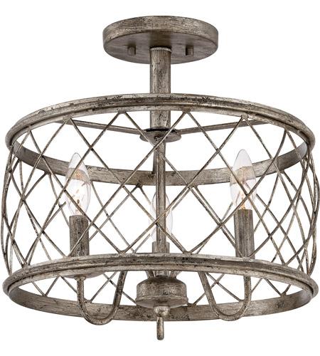 quoizel lighting dury 3 light semi flush mount in century silver