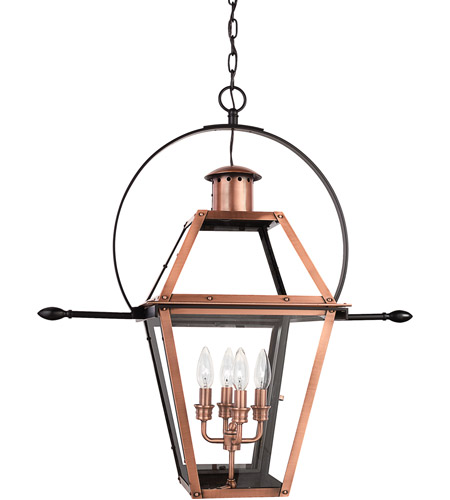 Quoizel Lighting Rue De Royal 4 Light Outdoor Hanging Lantern in Aged Copper RO1914AC photo
