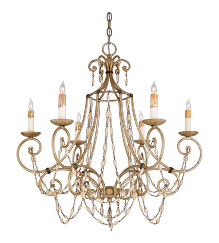 Quoizel Lighting Savigne 6 Light Chandelier in Antique Silver Leaf And Ancient Brass RSV5006AF photo