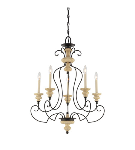 Quoizel Lighting Shelby 5 Light Chandelier in Sand Bisque And Earth Black Combination SHL5005SEC photo