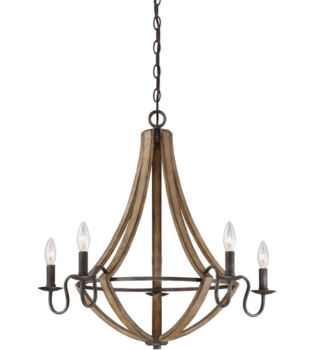 Quoizel Rustic Black Steel Chandeliers