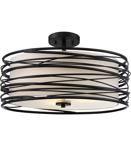 Quoizel Spl1720k Spiral 3 Light 20 Inch Mystic Black Semi Flush Mount Ceiling Light