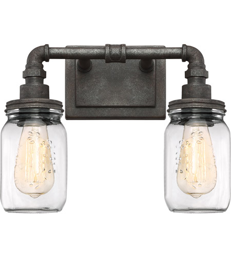 Quoizel sqr8602rk squire 2 light 14 inch rustic black bath for Z gallerie bathroom lights