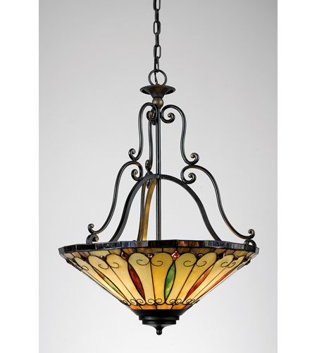 Quoizel Lighting Tiffany 3 Light Pendant in Imperial Bronze TF1039IB photo