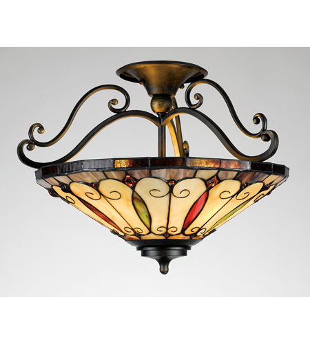 Quoizel Lighting Tiffany 3 Light Semi-Flush Mount in Imperial Bronze TF1040IB photo