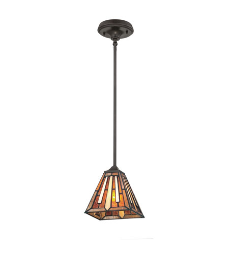 Quoizel Lighting Tiffany 1 Light Mini Pendant in Vintage Bronze TF1176PVB photo