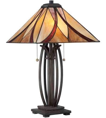 Quoizel Lighting Tiffany 2 Light Table Lamp in Valiant Bronze TF1180TVA photo