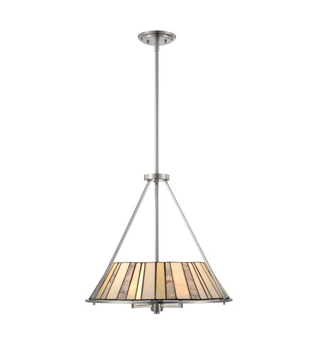 Quoizel Lighting Tiffany 3 Light Pendant in Brushed Nickel TF1217CBN photo