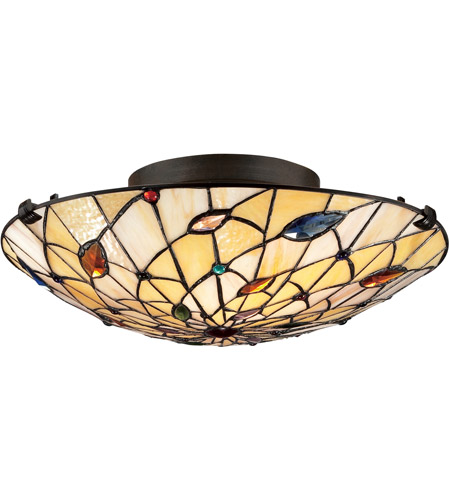 Quoizel Tf1409svb Tiffany 2 Light 17 Inch Vintage Bronze Flush Mount Ceiling Naturals