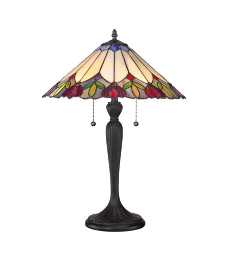 quoizel lighting tiffany 2 light table lamp in authentic. Black Bedroom Furniture Sets. Home Design Ideas
