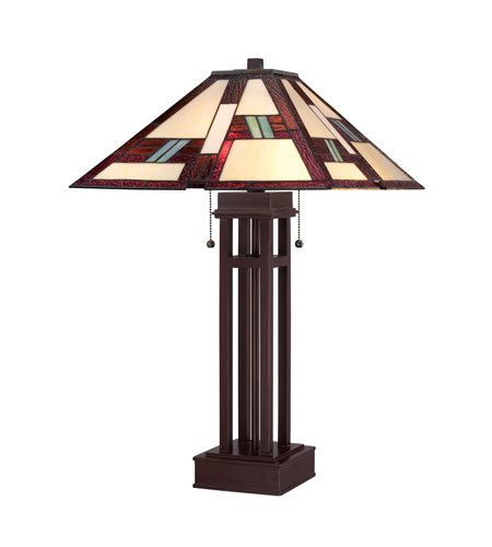 Quoizel Lighting Tiffany 2 Light Table Lamp in Russet TF1490TRS photo