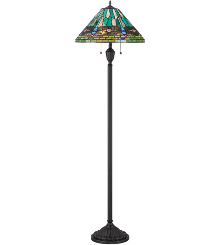 Quoizel TF1508FVB Tiffany 62 inch 100 watt Vintage Bronze Floor Lamp Portable Light, Naturals photo