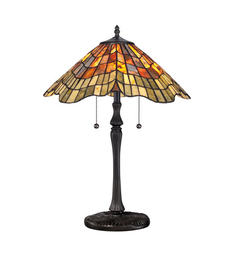 Quoizel Lighting Tiffany 2 Light Table Lamp in Vintage Bronze TF1510TVB photo