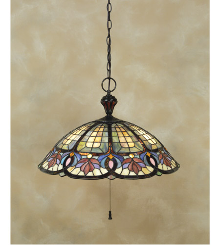 Quoizel TF1618VB Tiffany 3 Light 22 inch Vintage Bronze Pendant Ceiling Light, Naturals photo