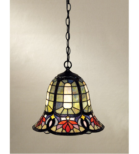 Quoizel TF1737VB Tiffany 1 Light 12 inch Vintage Bronze Mini Pendant Ceiling Light, Naturals photo