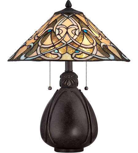 Quoizel TF1846TIB Tiffany 20 Inch 75 Watt Imperial Bronze Table Lamp  Portable Light