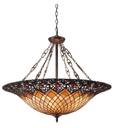 Quoizel TF1901VB Tiffany 6 Light 32 inch Vintage Bronze Pendant Ceiling Light, Naturals photo