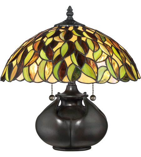 Quoizel TF3181T Tiffany 15 inch 60 watt Valiant Bronze Table Lamp Portable Light, Naturals photo