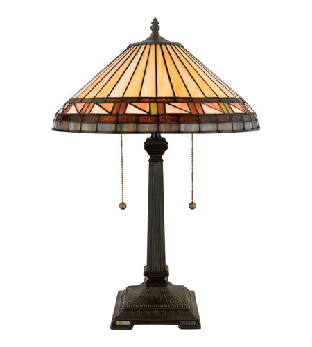 Quoizel Lighting Tiffany 2 Light Table Lamp in Vintage Bronze TF6663VB photo