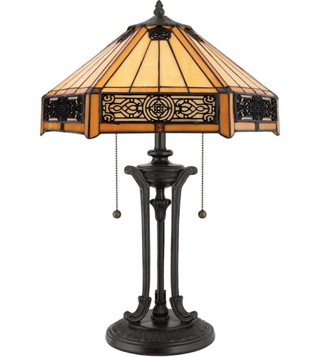 Quoizel Lighting Tiffany 2 Light Table Lamp in Vintage Bronze TF6669VB photo