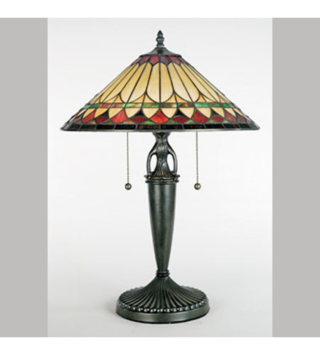 Quoizel Lighting Tiffany 2 Light Table Lamp in Vintage Bronze TF6821VB photo