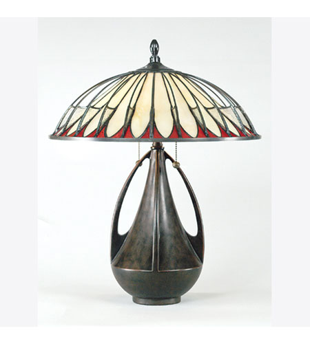 Quoizel Lighting Tiffany 2 Light Table Lamp in Burnt Cinnamon TF6855BC photo