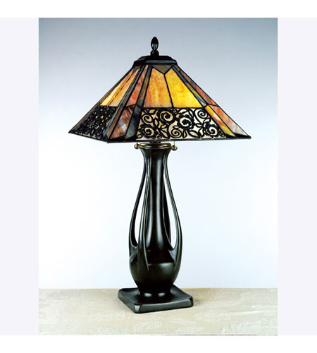 Quoizel Christina Tiffany Table Lamp 2 Light in Vintage Bronze ...