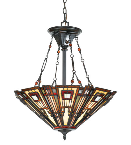 Quoizel Lighting Classic Craftsman 3 Light Pendant in Valiant Bronze TFCC2822VA photo