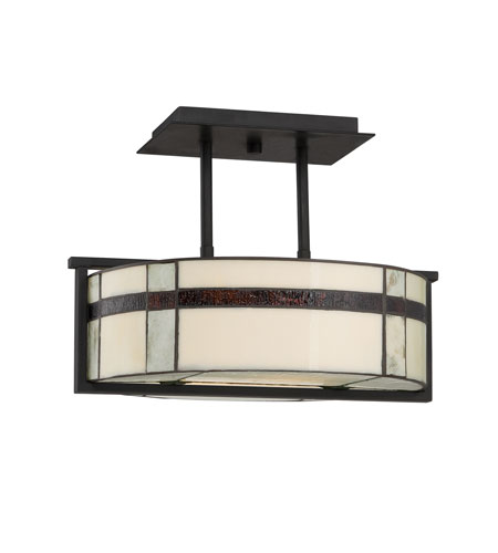 Quoizel Lighting Luxe 3 Light Semi-Flush Mount in Mystic Black TFLU1716K photo
