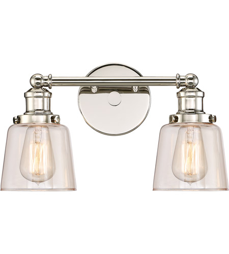 Quoizel uni8602pk union 2 light 15 inch polished nickel for Z gallerie bathroom lights