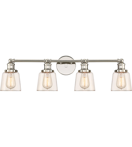 Gentil Quoizel UNI8604PK Union 4 Light 32 Inch Polished Nickel Bath Light Wall  Light