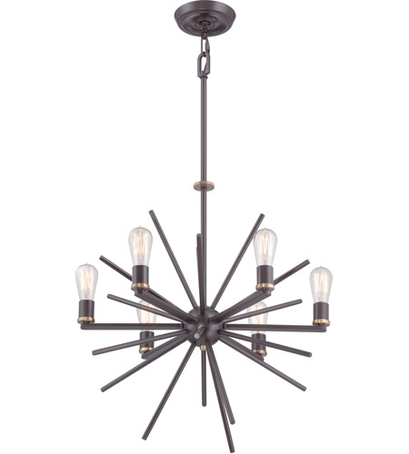 Quoizel UPCN5006WT Uptown Carnegie 6 Light 26 inch Western Bronze Chandelier Ceiling Light photo