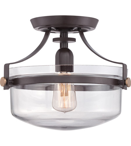 Quoizel UPPS1713WT Uptown Penn Station 1 Light 13 inch Western Bronze Semi-Flush Mount Ceiling Light  photo