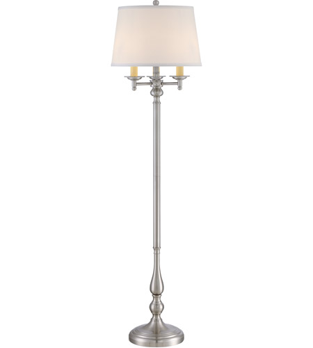 Quoizel VVKY9658BN Vivid 58 inch 150 watt Brushed Nickel Floor Lamp Portable Light in White Hardback Fabric Shade with Double Trim photo