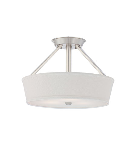 Quoizel Lighting Waverly 3 Light Semi-Flush Mount in Brushed Nickel WV1716BN photo
