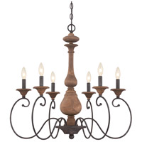 Auburn 6 Light 28 inch Rustic Black Chandelier Ceiling Light