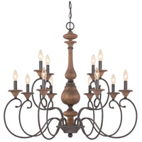 Auburn 12 Light 36 inch Rustic Black Foyer Chandelier Ceiling Light
